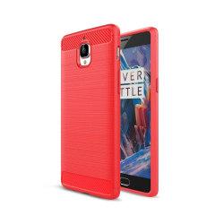 OnePlus 3 silikonskal med kolfiber textur - Röd