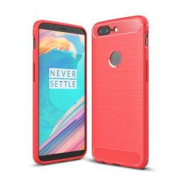 OnePlus 5T Skal med karbon fiber stil - Röd