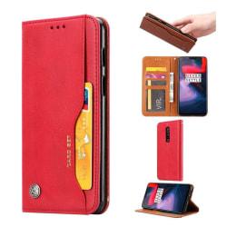 OnePlus 6 mobilfodral PU läder stående korthållare - Röd