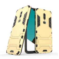 OnePlus 6 mobilskal plast silikon utfällbart ställ - Guld