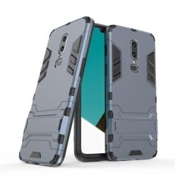 OnePlus 6 mobilskal plast silikon utfällbart ställ - Mörkblå
