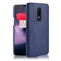 OnePlus 6 mobilskal plast syntetläder krokodiltextur - Blå