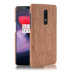OnePlus 6 mobilskal plast syntetläder trätextur - Brun