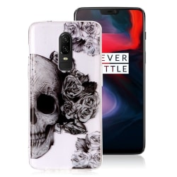 OnePlus 6 mobilskal silikon tryckmönster - Döskalle och blom