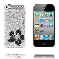 Paris (Silver - Svart Blomma) iPod Touch 4 Skal med Bling-Bl
