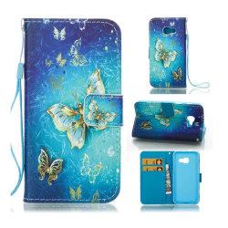 Samsung Galaxy A3 (2017) mönster läderfodral - Guld fjärilar