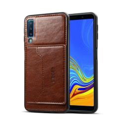 Samsung Galaxy A7 (2018) Plast mobilskal med syntetläder och