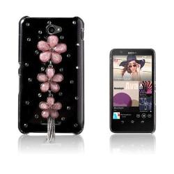 Shine Sony Xperia E4 Hårt Skal - Rosa Diamant Blomma