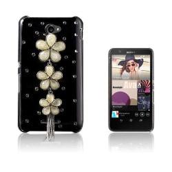 Shine Sony Xperia E4 Hårt Skal - Vit Diamant Blomma