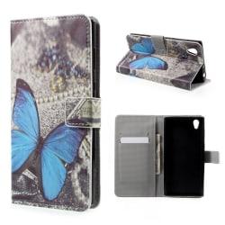 Sony Xperia L1 Fodral med modernt motiv - Stor blå fjäril