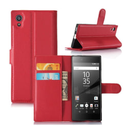 Sony Xperia XA1 litchi fiber läderfodral - Röd