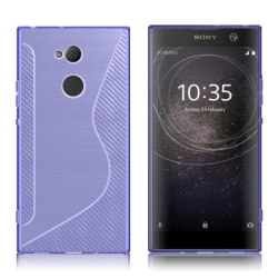 Sony Xperia XA2 mobilskal TPU kolfiber textur - Lila