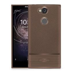 Sony Xperia XA2 mobilskal TPU litchi borstad textur - Brun
