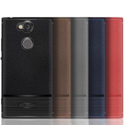 Sony Xperia XA2 mobilskal TPU litchi borstad textur - Grå