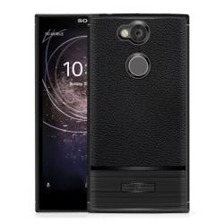 Sony Xperia XA2 mobilskal TPU litchi borstad textur - Svart