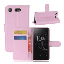 Sony Xperia XZ1 Compact Enfärgat läder fodral - Ljus rosa