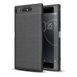 Sony Xperia XZ1 Enfärgat skinn skal - Svart