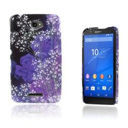 Westergaard Sony Xperia E4 Skal - Vit Floret och Lila Blommo
