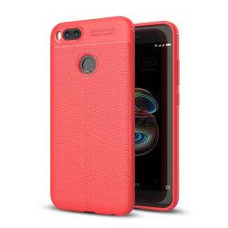 Xiaomi Mi A1 Enfärgat läder skal - Röd