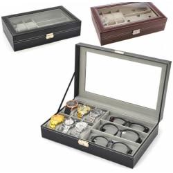 Klockbox / glasögonlåda för 6 st klockor & 3 st glasögon Svart