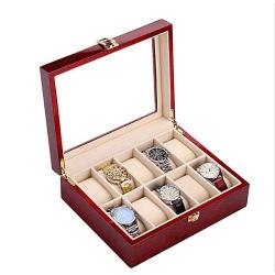 Klockbox / klocklåda i trä för 10 st klockor - pianolack