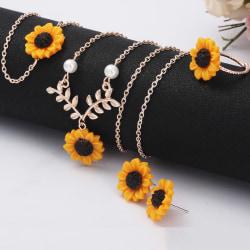 5st Mode Solros Hänge Halsband Örhängen Ring Armband