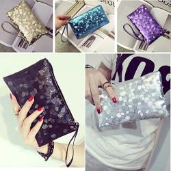 Glitter Faux Leather Wristlet Clutch Purse Travel Makeup Bag