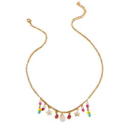Women Fashion Exaggerated Candy Color Faux Crystal Necklace one color