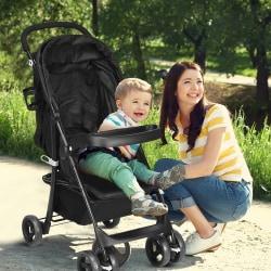 Barnvagn med fot- och ryggstöd
