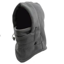 Ansiktsmask fleece mössa skidmask fleecehuva luva Balaclava grå grå