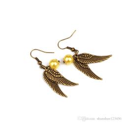 Golden Snitch Harry Potter örhängen Gyllene kvicken brons wings Brons