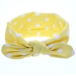 Hårband barn gul med vita prickar one size