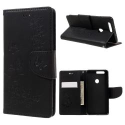 Huawei Honor 8 plånboksfodral wallet - Fjärilar Svart