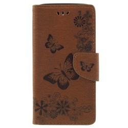 One Plus 6 fodral Butterflies relief - Brown
