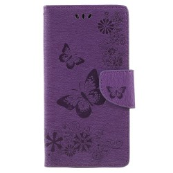 One Plus 6 fodral Butterflies relief - Lilac