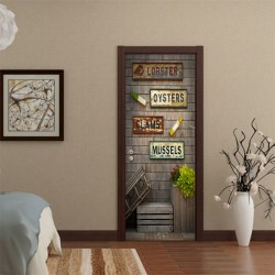 3D Door Wall Stickers Simulation Door Murals Scenery Home Decor 45*200cm