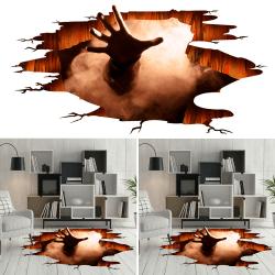 3D Halloween Sticker Escape Hell Floor Decals Horror Props