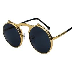 Unisex Solglasögon Metal Lennon Flip Up Len runda glasögon Gold Frame Black Lenses 1pair