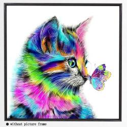 5D DIY Colorful Cat Diamond Painting Kits Arts Home Room Decor