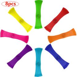 8pcs Sensory Fidget Toys Glass Bead Braided Network Tube 8 colors 8pcs