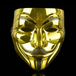 Anonymous Mask Cosplay V Vendetta Mask Guy Masquerade Gold