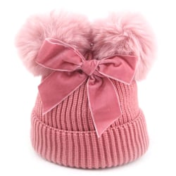 Autumn And Winter Cute Warm Children Double Ball Bow Knitted Hat pink