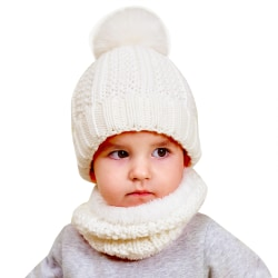Autumn And Winter Cute Warm Children Knitted Hat & Scarf Set white