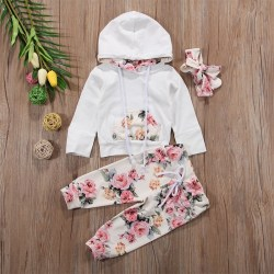 Autumn Long Sleeve Suit Printed Pocket Three-piece Hair Band white 90 cm