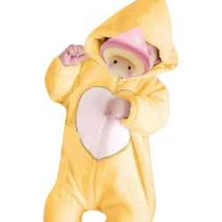 Autumn Winter Baby Zipper Jumpsuit Casual Warm Hooded Outfit Set Yellow 18-24M