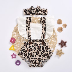 Baby Girls Ruffle Romper Headband Set One-Piece Outfit Clothes