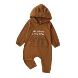 Baby Toddler Kids Long-sleeved One-piece Hooded Romper Outfits yellow 12-18M
