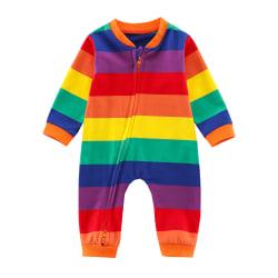 Baby Toddler Kids Long-sleeved One-piece Romper Rainbow Zipper Rainbow 12-18M