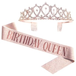 Birthday Party Supplies Decoration Strap Crown Set rose gold QUEEN