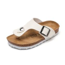 Boys Girls Summer Slip On Toe Post Cork Slippers Beach Children White 29
